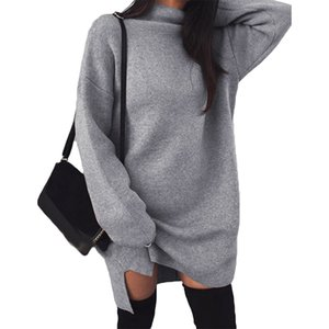 Trendy Autumn Winter Warm Knit pullover sweater Women Long Sleeve Turtle Neck Side Splitting Warm Knitted Sweater Dress