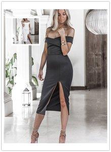 Womens dizayn edilmiş elbiseler Boyun Kapalı Omuz Elbise Office Lady Seksi Bölünmüş Elbise Backless Casual Dress Slash