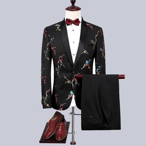 Men's Printed Embroidered Suit 2-Piece Set Slim Men's Clothing Dress Chinese-Style Plum Blossom Embroidered Suit Leisure Set