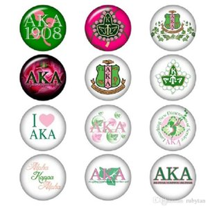 Mixed AKA Alpha Sorority Glass Snap Button Jewelry Charm High Quality Snap Accessories For Necklace Bracelet Earring