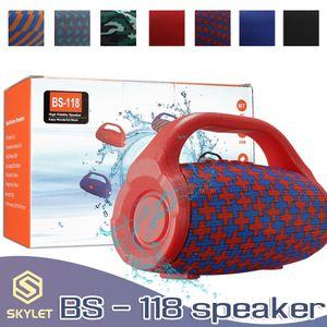 Alto-falante sem fio Bluetooth Speaker BS118 Suporte TF TF Cartão Portátil Dual Altifalantes Subwoofer de Hifi Ao Ar Livre com Pacote de Varejo