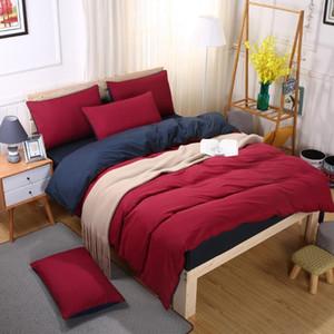 Literie Sets Estivaux rose bleu rouge foncé Duver Housse de couette couvercle plat drap de lit Taie souple simple Roi Reine pleine