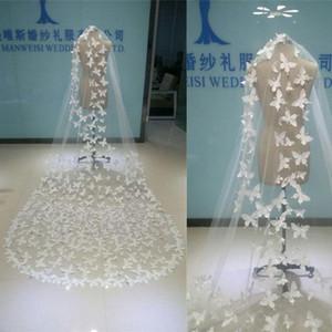 Em estoque casamento véus apliques borboleta véus de noiva branco marfim sheer tule uma camada longa véu com pentes imagem real custom made