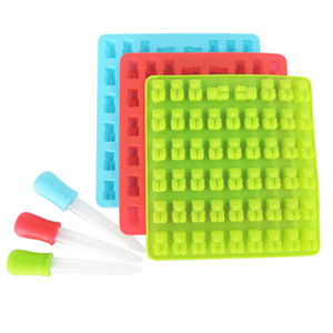 New Cavity Silicone Mold DIY Jelly Ice Mould 53 Holes Gummy Candy Mold Small Bear Silicone Ice Chocolate Tray Dropper Cartoon Cubs