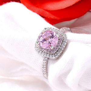 Choucong Новое Прибытие Потрясающие Роскошные Ювелирные Изделия Настоящее Стерлингового Серебра 925 Круглый Разрез Розовый Топаз CZ Diamond Gemstone Свадебное Кольцо для Женщин