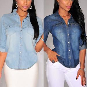 새로 캐주얼 여성 데님 셔츠 봄 가을 긴 소매 턴 다운 칼라 블루 솔리드 포켓 슬림 셔츠 2 스타일