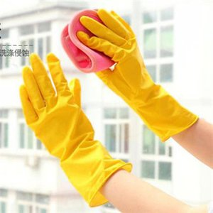 1 Pair Long Sleeve Wash Dishes Housekeeping Gloves Kitchen Yellow Water-proof Dishwash Gloves Rubber Bands Natural Latex Gloves