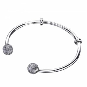 New Pave Clear Crystal Open Cuff Bangles Genuine 925 Sterling Silver For Women Fine Jewelry Accessories Bracelet Fits DIY Beads Charms