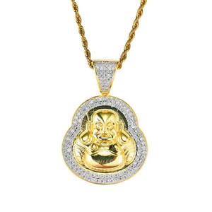 Hip hop Maitreya Buda diamantes pingente colares para mulheres dos homens Budismo Religião colar de luxo banhado a ouro real de cobre zircões