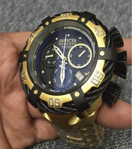 İsviçre COSC orijinal INVICTA marka dönen kadran süper kalite Erkek saat markası Tungsten çelik Fonksiyonlu Gold kuvars izle