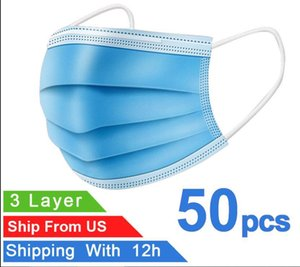 Máscaras de alta qualidade Azul descartáveis de protecção anti-bacteriana Máscara Facial Boca Thick 3-Layer com máscaras Earloops ventilação Drop Shipping