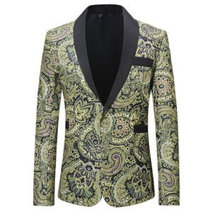 2019 Men Plus Size Classic Shawl Lapel Slim Fit Chaqueta Casual Yellow White Blazer Designs Costume Stage Clothes For Singers