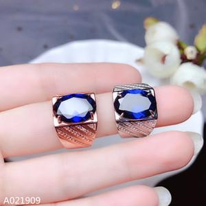KJJEAXCMY boutique de joyería de plata de ley 925 con incrustaciones de piedras preciosas naturales apoyan zafiro anillo de los hombres de detección exquisita noble