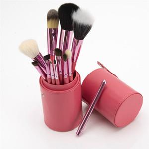 12PCS اسطوانة فرشاة ماكياج مقبض خشبي فرشاة التجميل مجموعة برميل فرشاة أدوات التجميل السفينة حرة 10