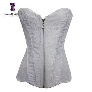 881# High quality jacquard front zipper steel boned corset for wedding dress lace corsets and bustiers