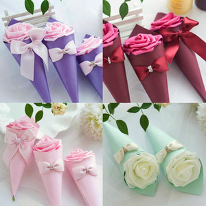 Paper Cone Shape Candy box chocolate container favor holder boxes with Rose Flowers Bowknot Diamond 50pcs lot free shipping wholesales