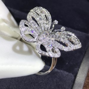 New Arrival Shinning Luxury Jewelry 925 Stunning Sterling Ring Butterfly Silver Sapphire CZ Pave White Diamond Wedding Rings Band Promi Ienh