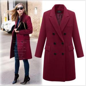 2019 Women's Autumn And Winter New European And American Large Size Windbreaker Long Section Woolen Coat Woolen Coat