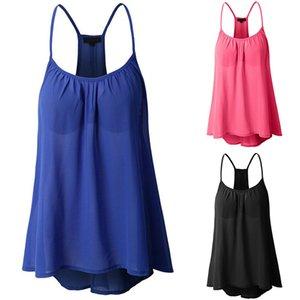 BBYES Femmes Chemise En Mousseline De Soie D'été Bretelles Swing Vest Blouse Vêtements Pour Femmes Dames Casual Lâche Surdimensionné Chemises Femme Blusas