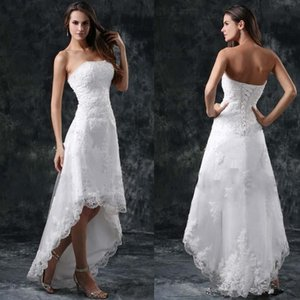 White Lace Summer Beach Hi-Lo Full Lace A Line Wedding Dresses Strapless Appliques Short Formal Lace-up Back Vestidos Bridal Gowns Cheap