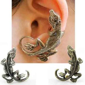 2-color Avrupa ve Amerikan popüler gece kulübü punk takı, Kertenkele Gecko kulak klipsi toptan ve perakende