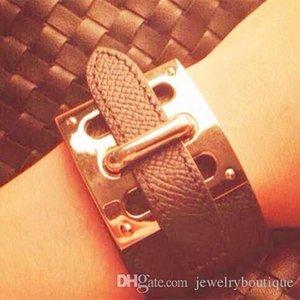 Lujoso pulsera de cuero genuino con pulsera de remaches de bloqueo en muchos colores pulsera ajustable de los CDC para la mujer y el hombre de la joyería Noche Club Dr