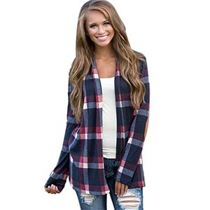 Fashion-Wholesale Women girls Casual Cardigan Loose Trench Coat Plaid Long Sleeve Autumn Casual Outwear