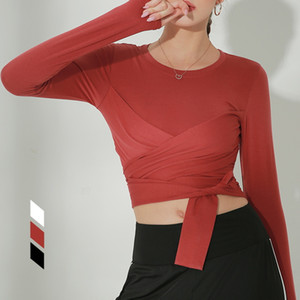 Women's sportswear long sleeve gym shirts quick dry yoga crop top sport shirts bandage breahtbale running t fitness WT271