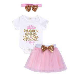 Baby Girl Clothes Short Sleeve O-neck Baby Clothing Solid Bow Skirt Infant Girl Clothing+Headband Newborn Clothes Set Ropa Niña