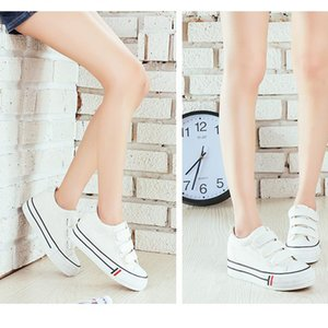 Spring hook and loop canvas shoes women's with thick soles white casual Korean version of board student tide