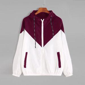 Chaquetas de las mujeres básica femenina de la cremallera Bolsillos informal de manga larga con capucha abrigos otoño chaqueta Dos chaqueta rompevientos tono