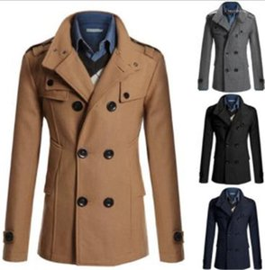Casual Wool Tweed Long Coats Stand Collar Mens Coat Mens Outerwear Slim Mid Length Jacket Solid Color