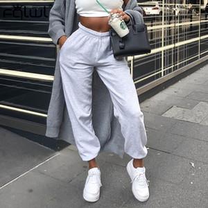 FQLWL Streetwear Harem Pantolon Kadınlar Koşucular Siyah Beyaz Yüksek Bel Pantolon Kadın Bayanlar Pantolon Kış Gevşek Parça Sweat