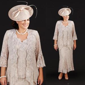 2019 elegante madre de la novia vestidos tres piezas llenas de encaje de la madre vestidos de boda de longitud del tobillo más tamaño madres baratas vestido de novio