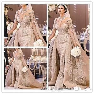 Lüks Mermaid Şampanya Gelinlik ile Ayrılabilir Tren 2019 Arapça Uzun Kollu Dantel Gelin Törenlerinde robe de mariée