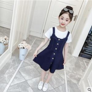 Kız Denim Elbise 2019 Yeni Yaz ve Bahar Çocuk Tek Breasted Elbise Katı Mavi Renk Size4-14 Prenses Elbise ly158