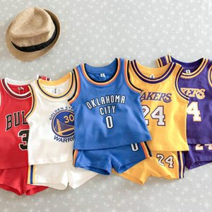 Summer Baby Kids Sports Set Children Cotton Fashion Sleeveless Motion Vest Suit Pure Cotton Gown Basketball Clothes