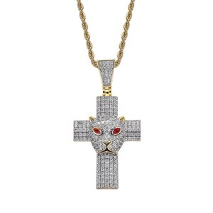 Full Cubic Zircon Cross Pendant With Leopard Head Charm Necklace Creative Hip Hop Animal Jewelry For Men Rapper Gift