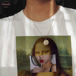 Wvioce Mona Lisa Carta de dibujos animados divertidos de la manera Imprimir Camiseta de las mujeres de la parodia personalidad de la manera de Harajuku Verano Vestimenta para mujer