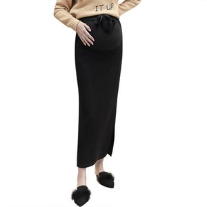 2019 Fashion Pregnant Women Elastic Solid Knitted Long Skirts Casual Pregnancy Clothes Maternity High Waist Sweater Skirt Q618