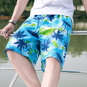 Board Shorts Men Thin Printed Plus Size 3XL Loose Trendy Beachwear Drawstring Leisure Chic Mens Comfortable Knee-length Swimsuit