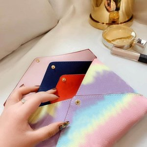 New top designer fashion leather three-piece luxury 3A quality letter color ladies bag wallet clutch bag fashion envelope bag with box