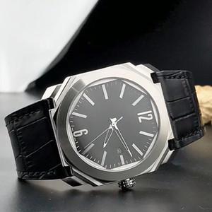 2019 Neue 42mm Octo Date 101964 Schwarzes Zifferblatt Quarz / Automatische Herrenuhr Silber Fall Lederband Hochwertige Armbanduhren