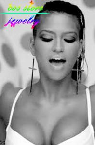 New Rock Punk Relogio Feminino Super Sexy Gold Long Oversized Cross Statement Hook Earrings Large Cross Earrings For Women 2020