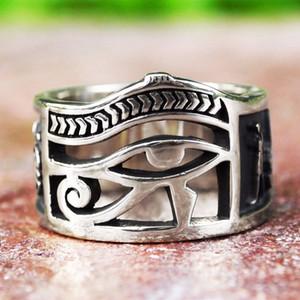Mulheres Dos Homens do vintage Cor de Prata Olho Egípcio de Horus Ankh Cruz Anéis Simbólicos Egípcio Amuleto Presente Da Jóia