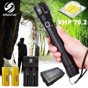 LED XHP70.2 lanterna tática LED Tocha impermeável iluminação portátil ao ar livre até 4300 lumens de saída de luz de acampamento