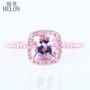 Helon Promotion Solid 14 Karat Roségold Kissen 6 mm Form 0,9 ct Morganit ebnen 0,2 ct natürliche Diamanten Hochzeit Engagement feinen Ring Y19052301