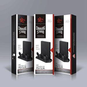 소니 플레이 스테이션 4 슬림 게임 콘솔을위한 듀얼 충전기로 충전 스테이션 팬 컨트롤러를 냉각과 PS4 슬림에 대한 수직 스탠드
