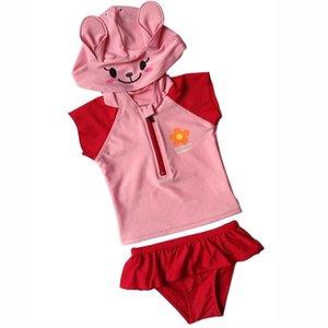 1-6T 2PCS miúdo bonito bebés roupa traje de natação com capuz de banho Swimsuit Bikini Set Swimwear