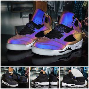 Qualità di arrivo 5 High V olio grigio 3M Riflettore Chameleon scarpe da basket Mens degli addestratori delle scarpe da tennis Jumpman 5s Sport